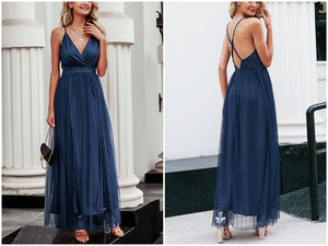 Blue Deep V Neck Backless Dress