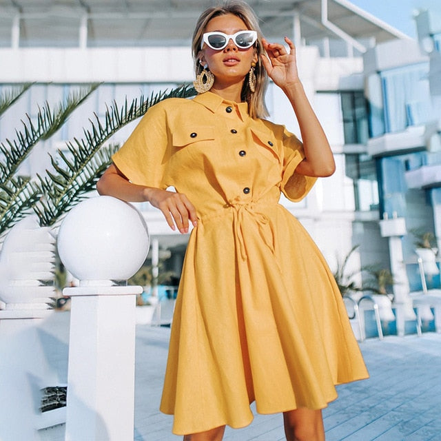 Yellow Vintage Mini Shirt Dress
