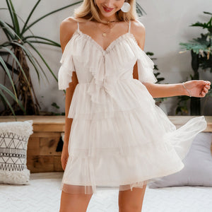 White Spaghetti Strap Ruffles Dress