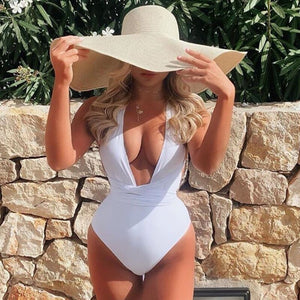White Deep V Swimsuit