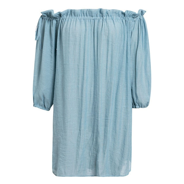 Blue Summer Beach Cover Up Dress