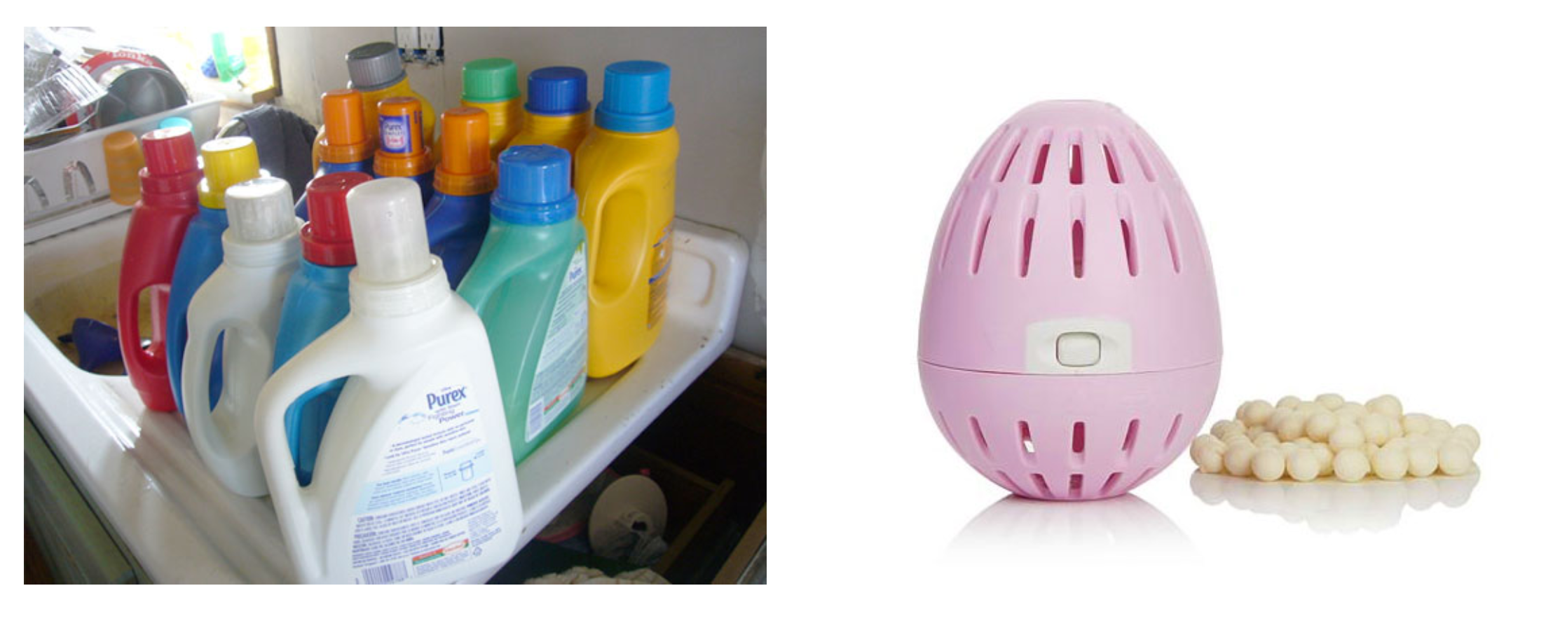 a photo of laundry jugs vs the Ecoegg which replaces laundry detergents