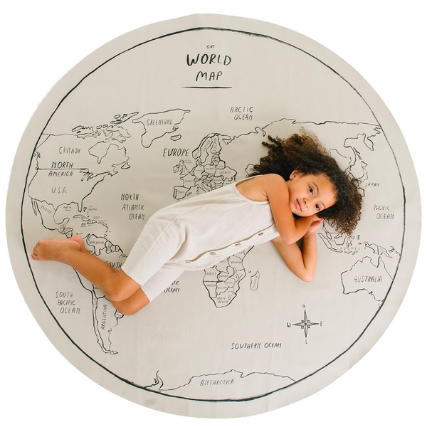 Gathre Midi Multipurpose Leather Mat, Tapestry Circle in print World Map