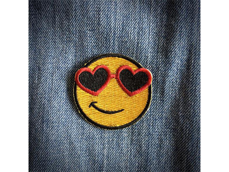 Les Tatoues smiley face iron on patch