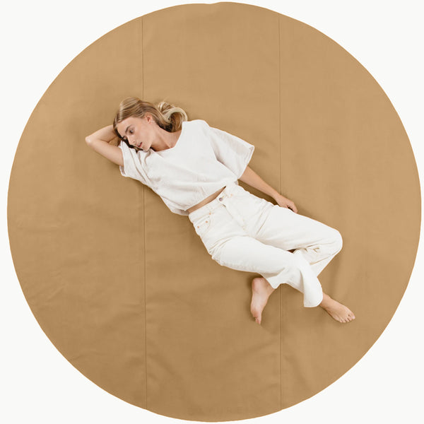 Gathre Maxi Large Sized Multipurpose Leather Mat Circle in Camel