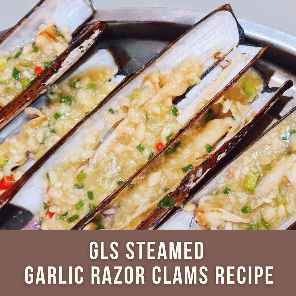 Global Live Seafood's Steamed Garlic Razor Clams Recipe