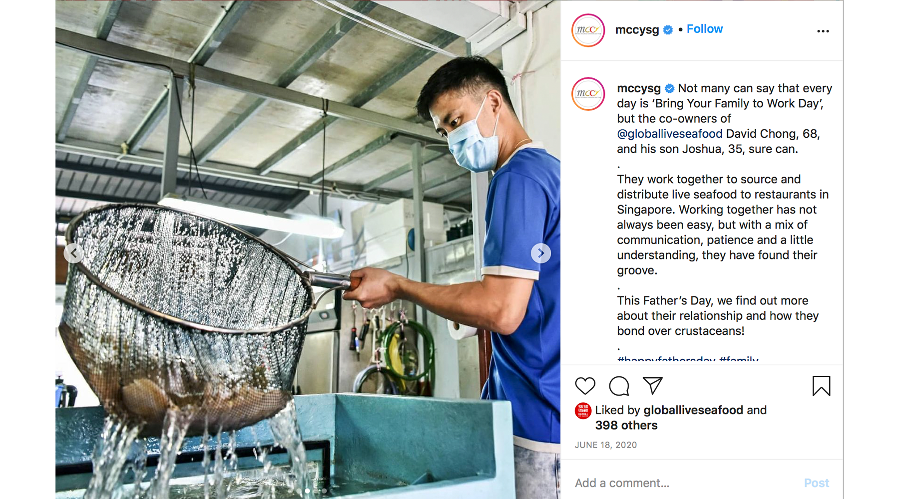 Global Live Seafood featured on MCCY's Instagram