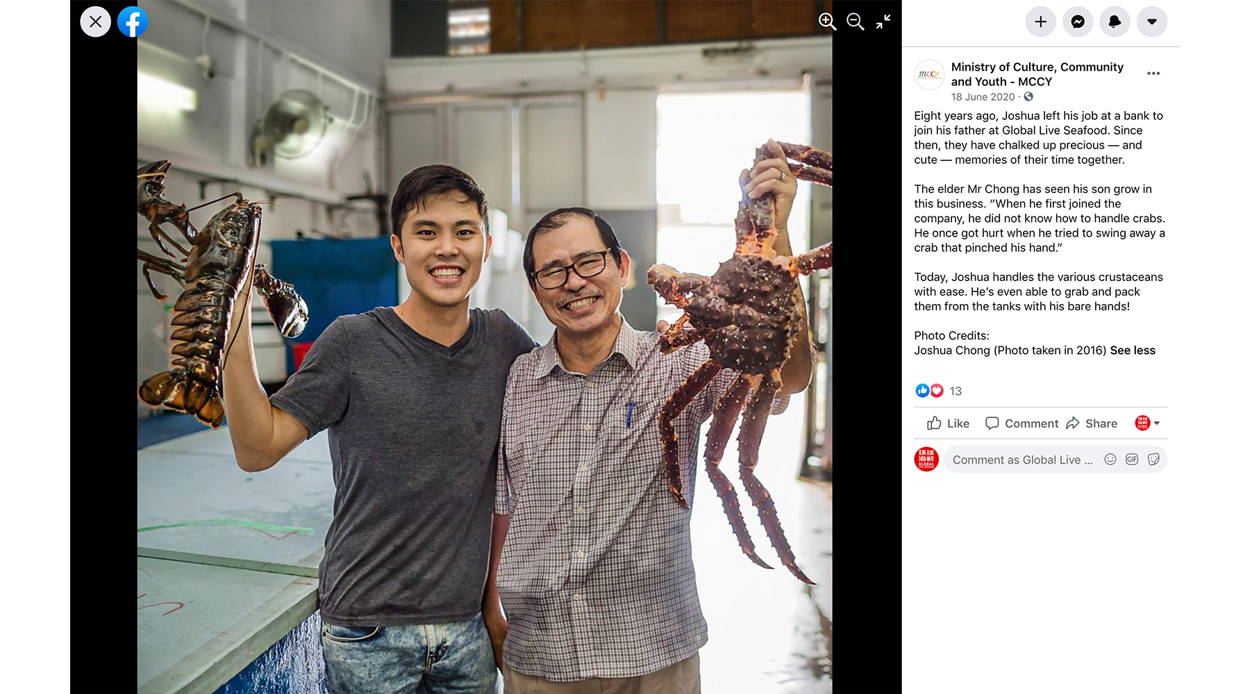 Global Live Seafood featured on MCCY's Facebook