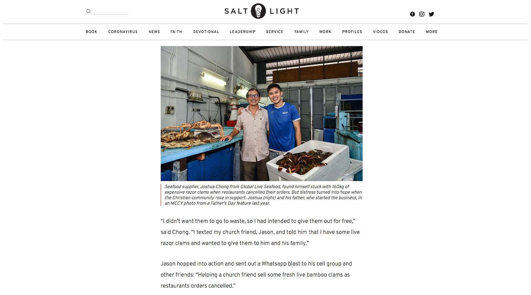 global live seafood featured in salt and light blog