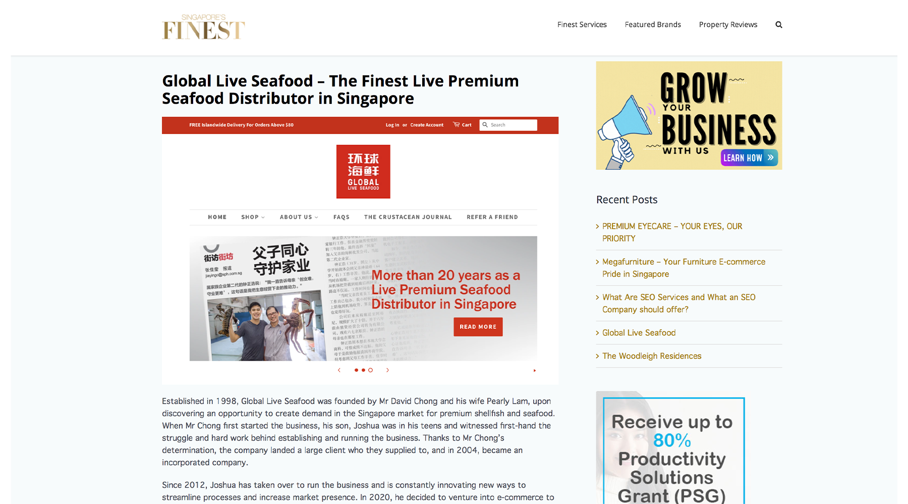 global live seafood featured in singapore finest article