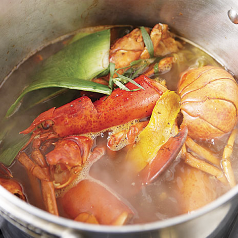 lobster stock in a pot