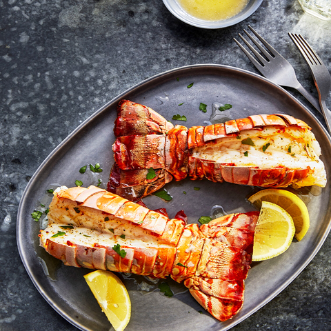 cooked lobster tails on plate