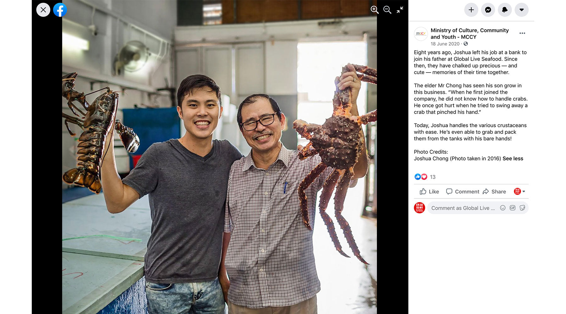 global live seafood featured in MCCYSG facebook