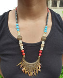 Gold and Copper Tone Tribal Beaded necklace