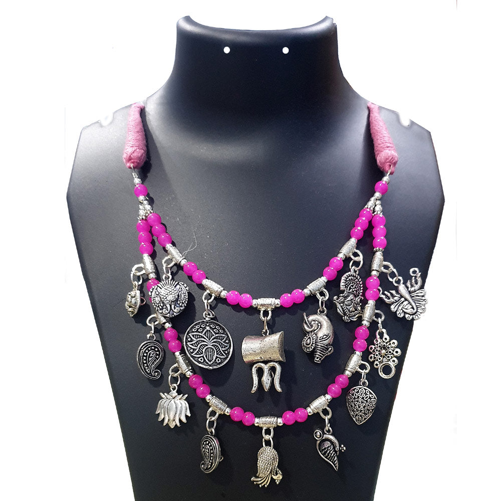 Multi Charms 2 row beaded necklace