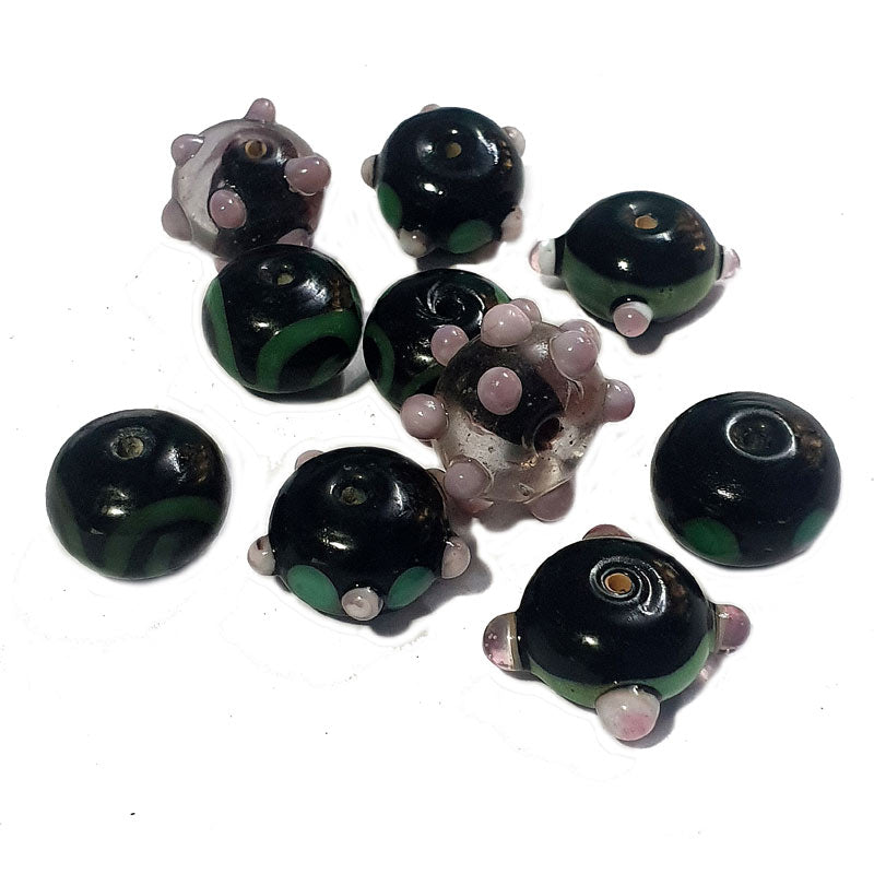 10 Pcs Black Mix Decoration Rondelle Bead Set