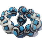 14mm Size 10 Pcs Pack, White on Turquoise Lampwork Beads