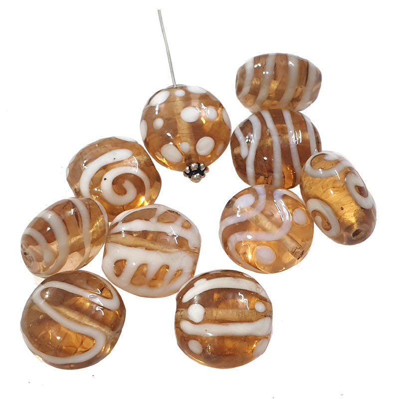 10 Pcs Assorted designs disc shape lampwork glass beads