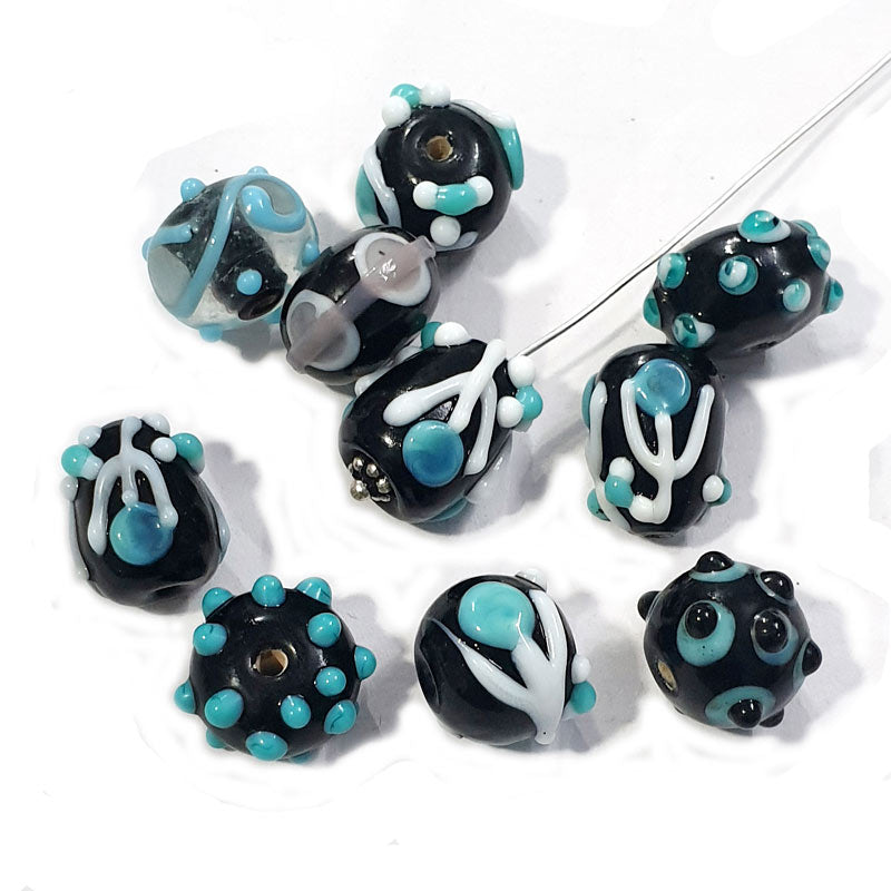 10 Pcs. Black Raised Pattern Handmade Lampwork Glass Beads