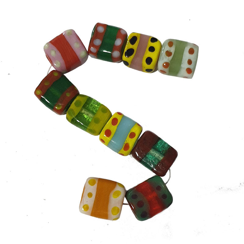 10 Pcs Mix Color Funky lampwork Beads Flat Cube