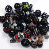 Black fancy mixed glass beads, sold by Per Pkg. 250 Gram Size about 10mm to 16mm,