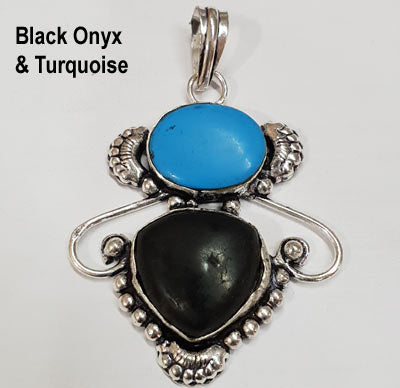 Gemstone Pendants With quality Oxidized German Silver Metal