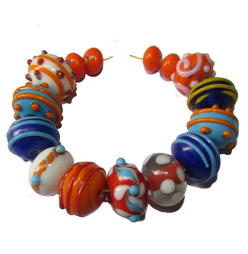 Handmade Lampworked Bead Set Sold Per set, Size about 12-16mm length 14~ 18 Centimeter