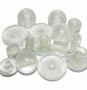 Sold in 250/Gram Pkg. Plain glass beads Clear large size about 16-24mm size, mix shapes, Apporx 120 Pcs in a kilo,