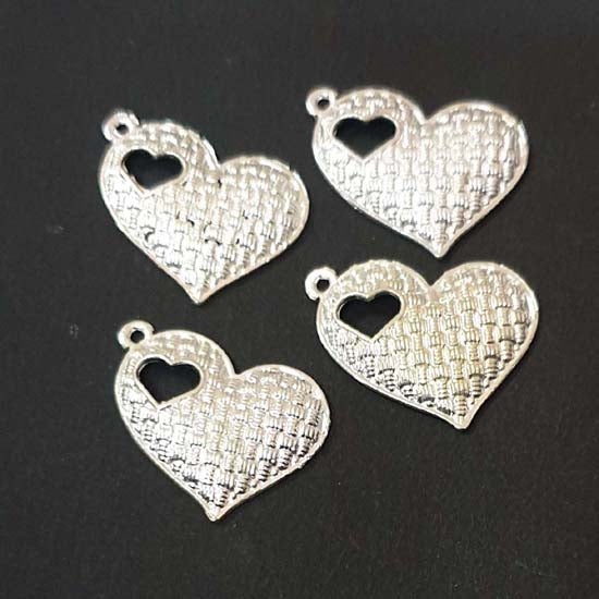 10 Pcs Pack approx size 18x22mm Oxidized Heart Pendant Locket for Jewellery Making
