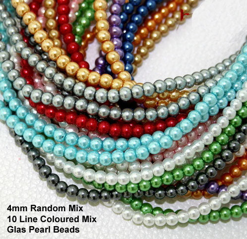 "4mm 10 Strands Random Mix Glass Pearl Beads Each 16"" Strands"