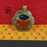 At Discount Price Tibetan pendant, coral and enamelled inlay focal tribal Oxidized tone Sold Per Piece