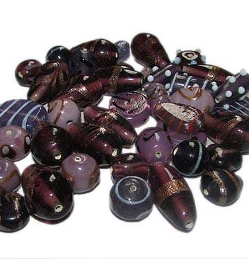 Purple fancy mixed glass beads, sold by Per Pkg. 250 Gram. Size about 10mm to 16mm,