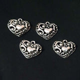2 Pcs Pack approx size 19x21mm Small Oxidized Heart Charm Pendants for Jewelry Making