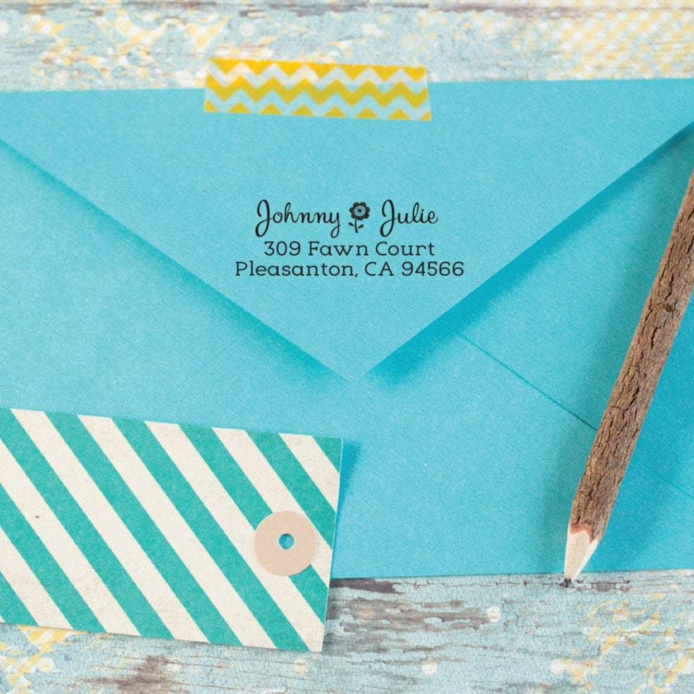 Flower Return Address Stamp