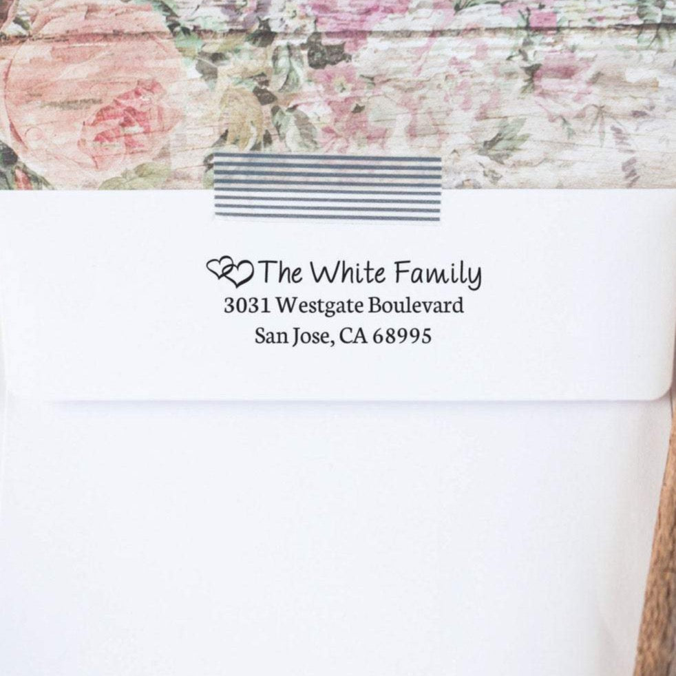 Connected Hearts Custom Return Address Stamp