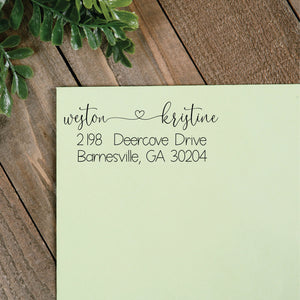Heart Tied Return Address Stamp