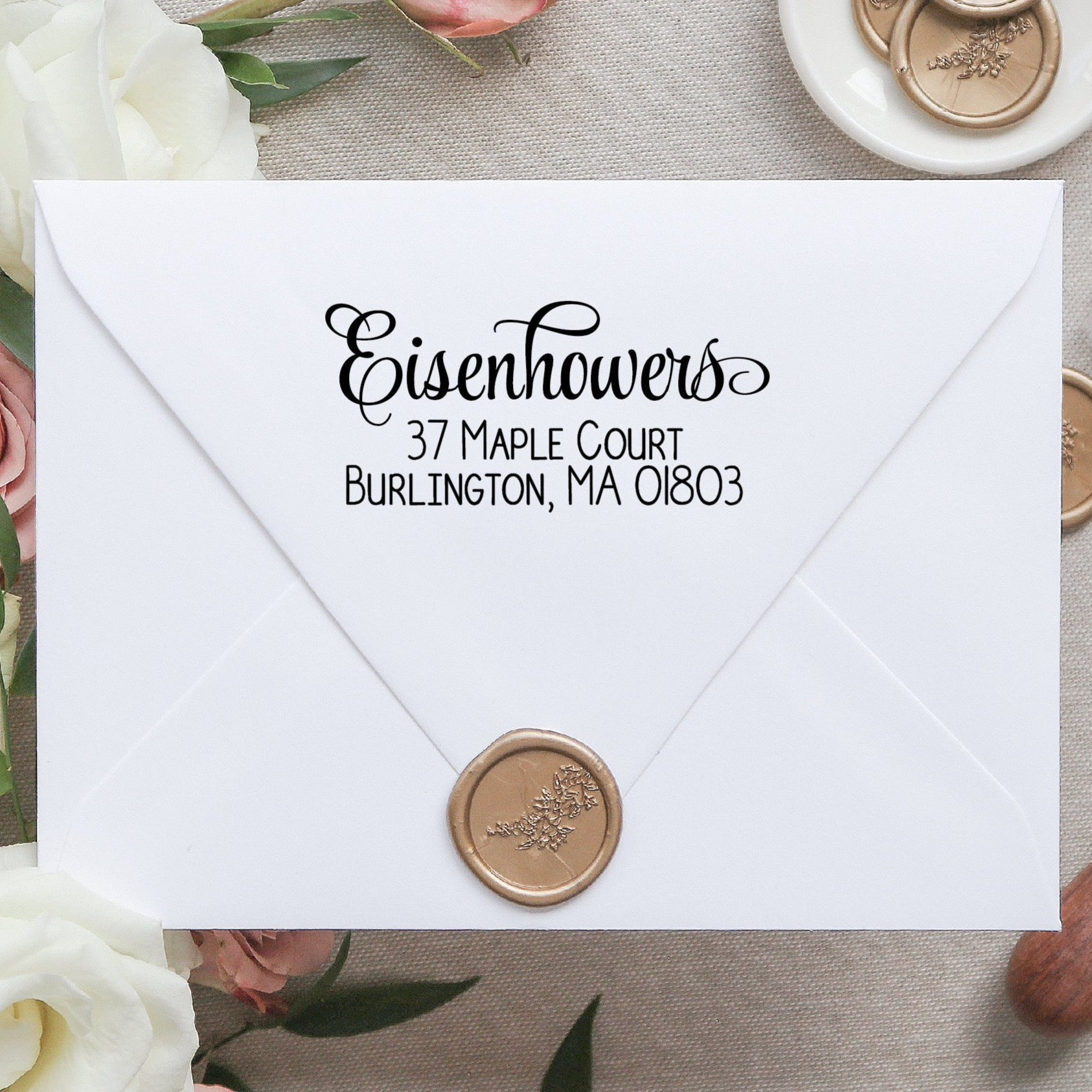 Cursive Return Address Stamp