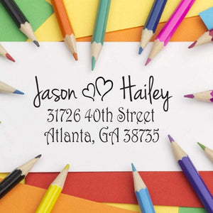 Two Hearts Return Address Stamp