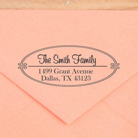 Oval Border Return Address Stamp