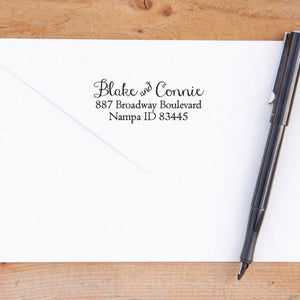 Swirly Script Return Address Stamp