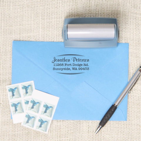 Oval Bracket Return Address Stamp