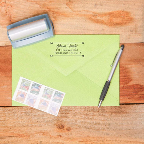 Double Rod Return Address Stamp