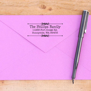 Double Scroll Rod Return Address Stamp
