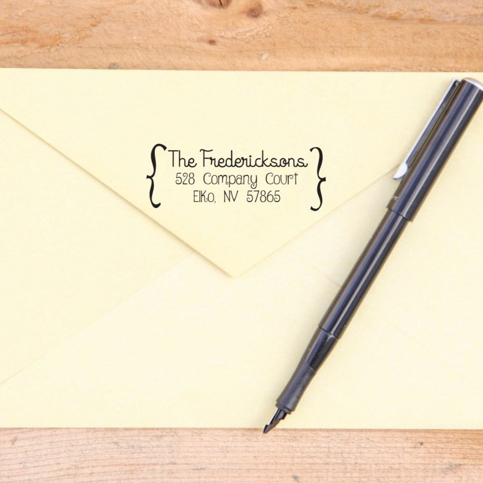 Custom Brackets Return Address Stamp