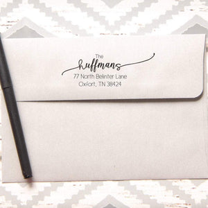 Beautiful Script Return Address Stamp