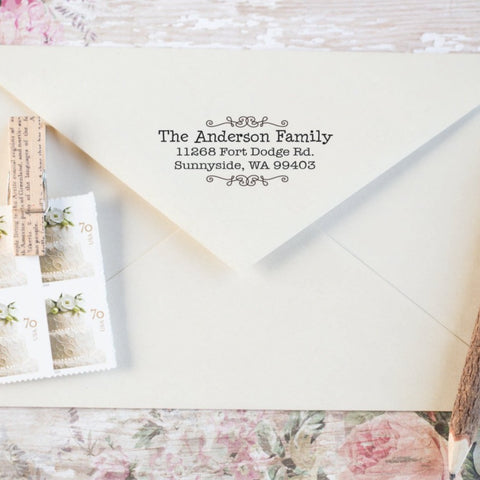 Scroll Border Return Address Stamp