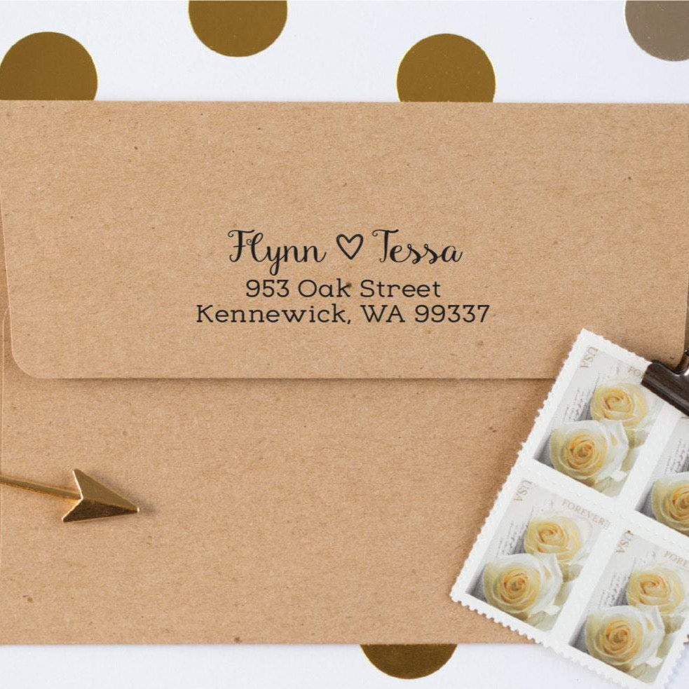 Open Heart Return Address Stamp