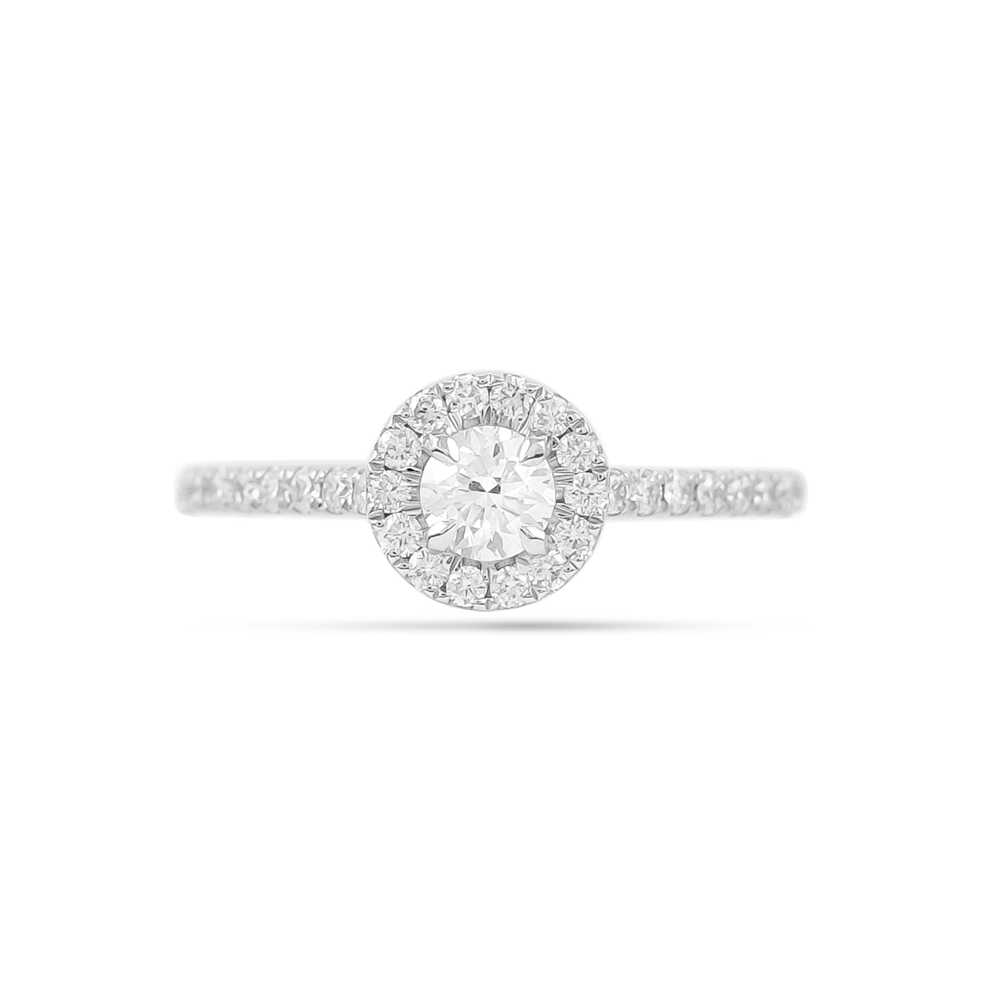 0.30ct Brilliant-Cut Diamond Halo Engagement Ring