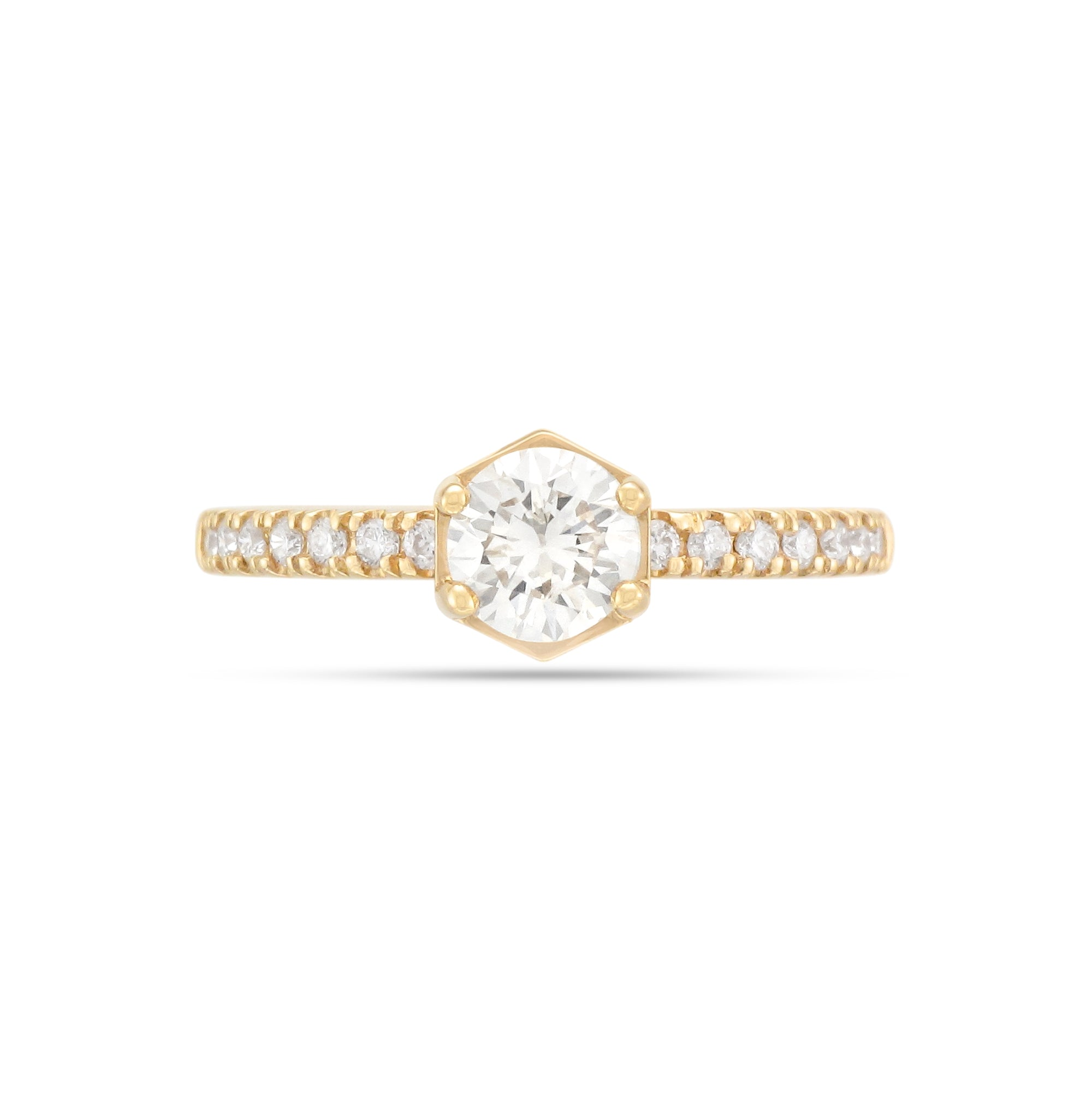 0.46ct Brilliant-Cut Shoulder Set Diamond Engagement Ring
