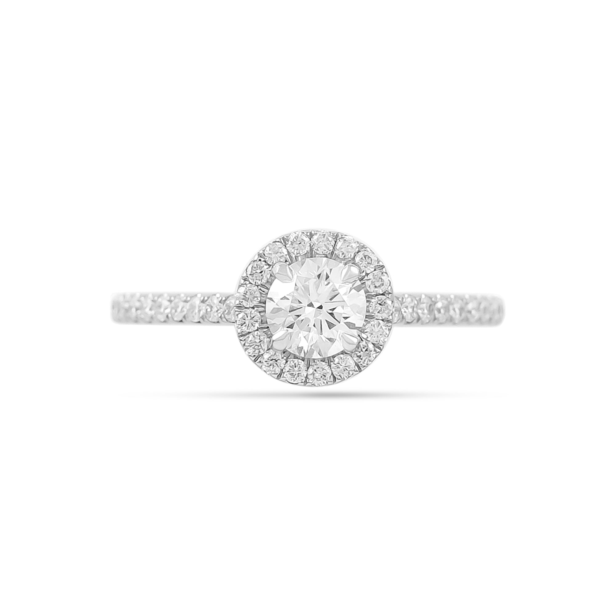 0.50ct Brilliant-Cut Diamond Halo Engagement Ring